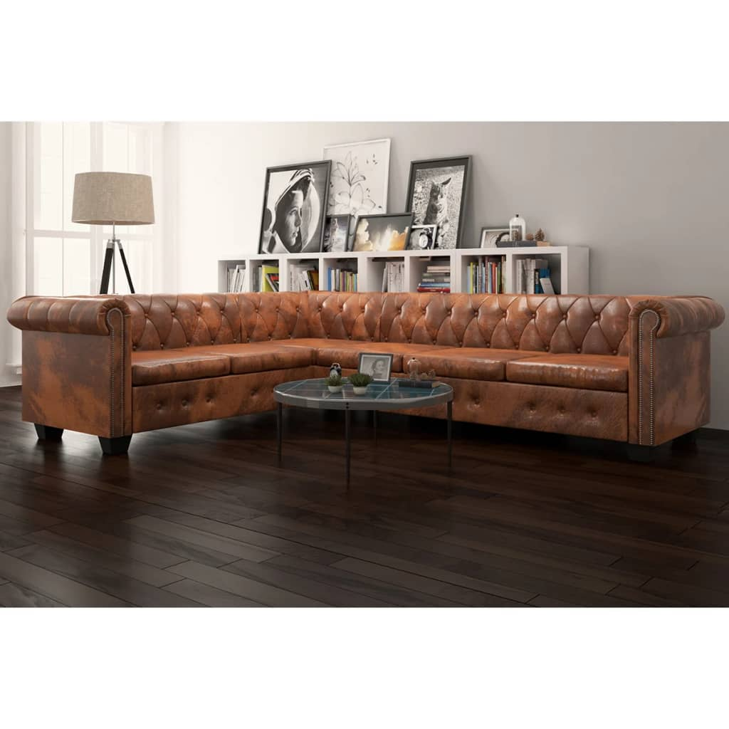 Canapé d'angle 6 places Marron Cuir Luxe Chesterfield Confort