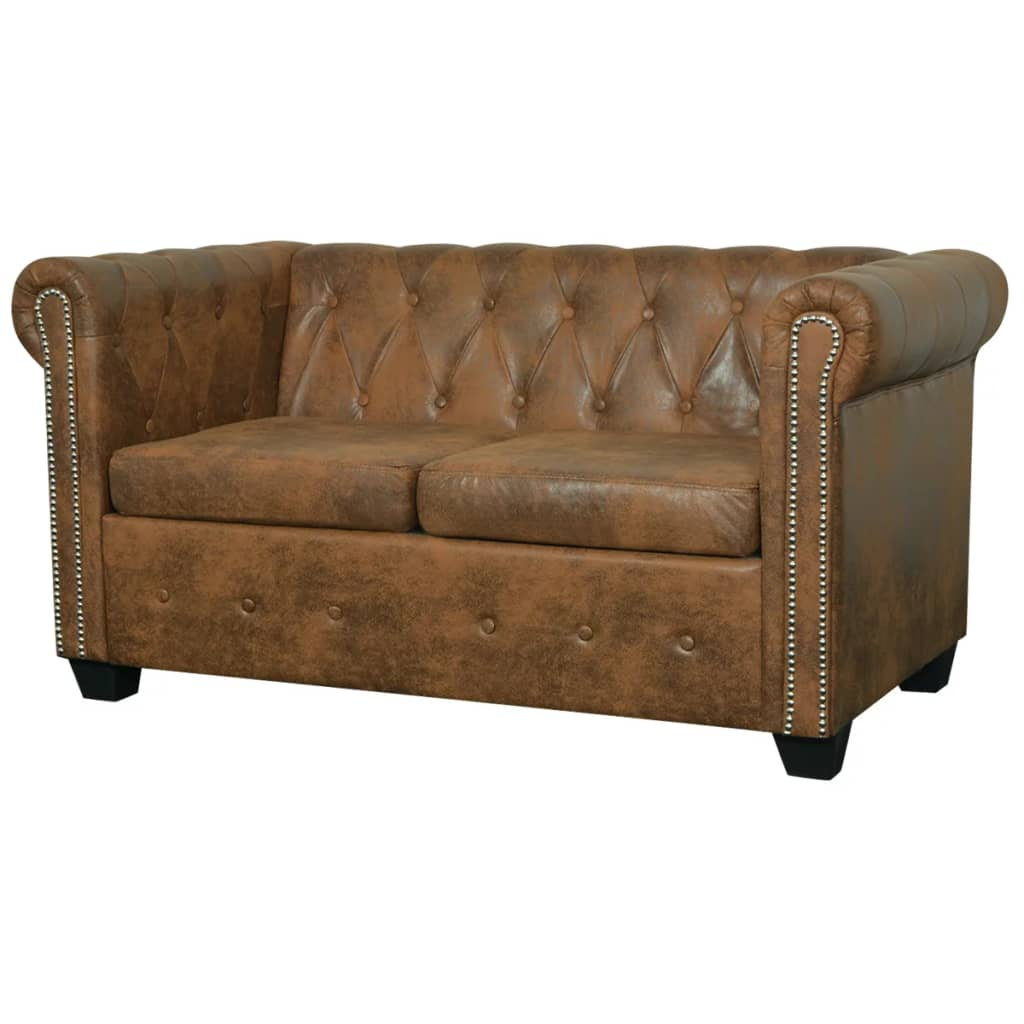 vidaXL Dwuosobowa sofa Chesterfield ze sztucznej skóry, brązowa