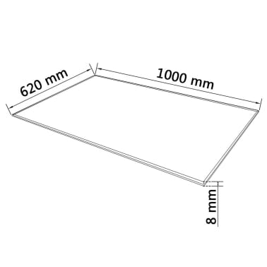 vidaXL Stalviršis, grūdintas stiklas, stačiakampio forma, 1000x620mm[4/4]