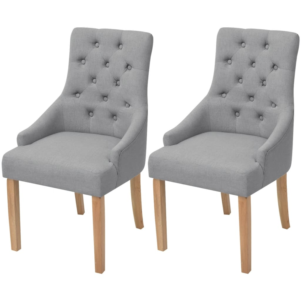 vidaXL Oak Dining Chairs 2 pcs Fabric Light Grey