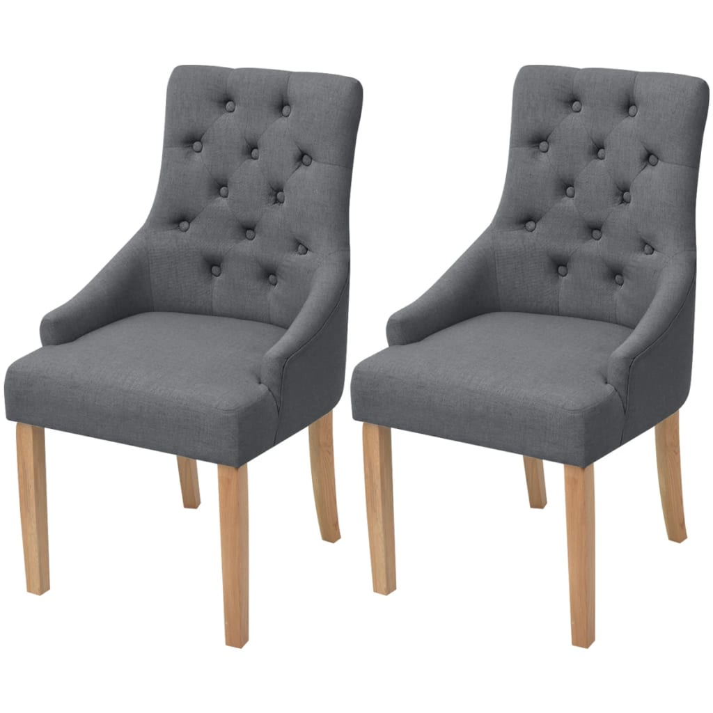 vidaXL Oak Dining Chairs 2 pcs Fabric Dark Grey