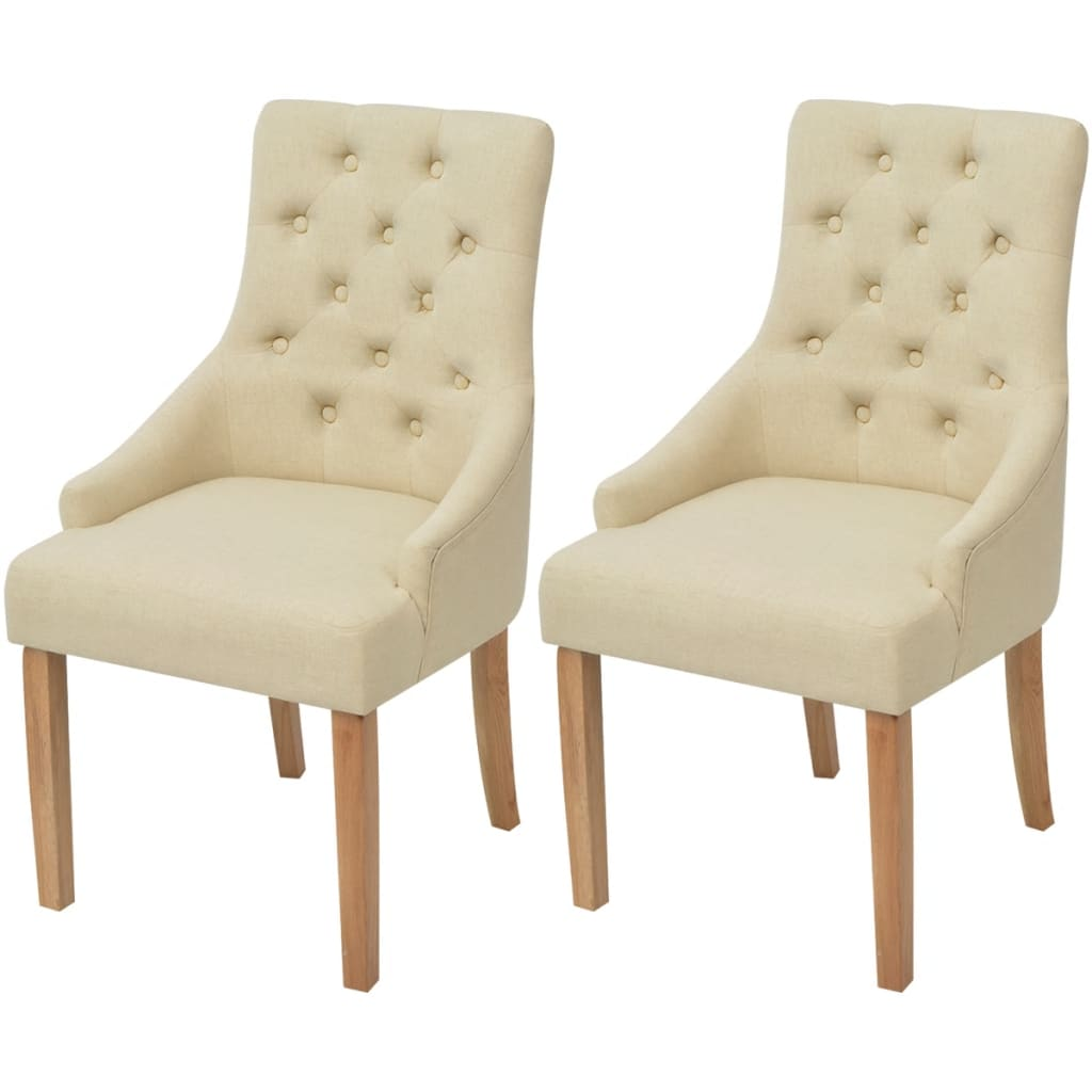 vidaXL Καρέκλες Τραπεζαρίας 2 τεμ. Κρεμ Υφασμάτινες Δρύινες