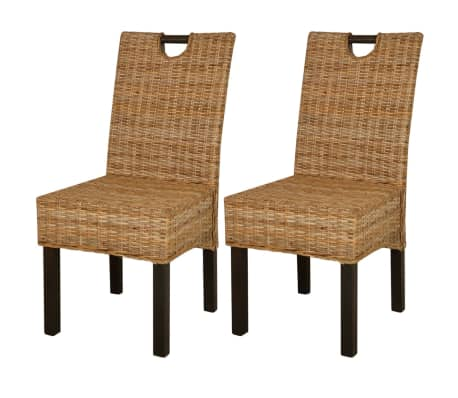 vidaXL Dining Chair 2 pcs Kubu Rattan Mango Wood
