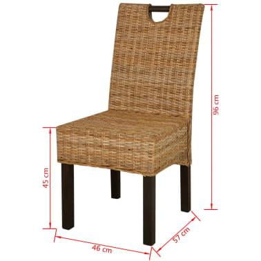 Vidaxl sedie sala da pranzo 2 pz in rattan kubu e legno di for Sedie sala pranzo legno