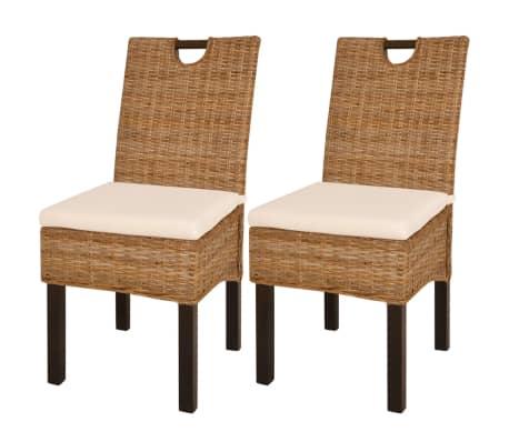 vidaXL Krzesła do jadalni, 2 szt., rattan Kubu i drewno mango