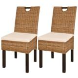 vidaXL Valgomojo kėdės, 2 vnt., Kubu ratanas, mango mediena