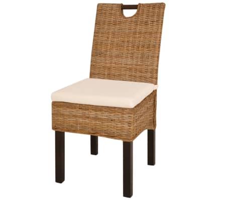 vidaXL Krzesła do jadalni, 2 szt., rattan Kubu i drewno mango[2/5]