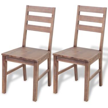 "vidaXL Dining Chairs 2 pcs Solid Acacia Wood 16.5""x19.3""x35.4""[1/6]"