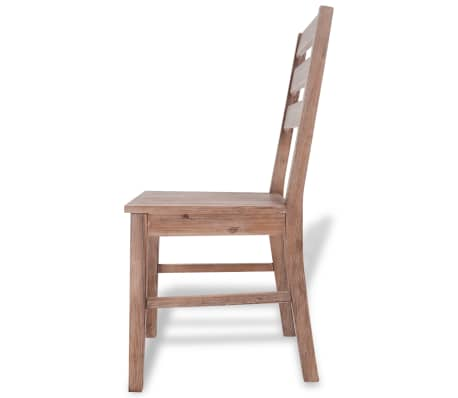 "vidaXL Dining Chairs 2 pcs Solid Acacia Wood 16.5""x19.3""x35.4""[4/6]"