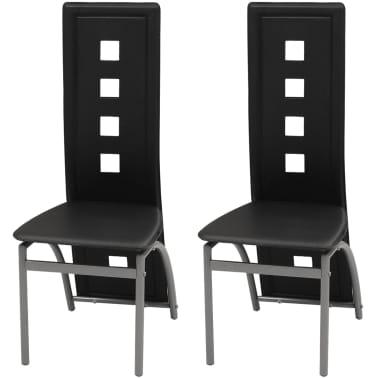 vidaXL Chaises de salle à manger 2 pcs Noir Similicuir[1/5]