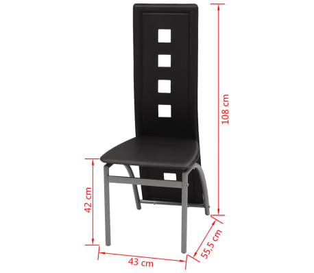 vidaXL Chaises de salle à manger 2 pcs Cuir artificiel Noir[5/5]
