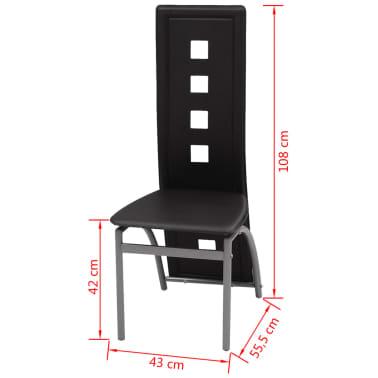 vidaXL Chaises de salle à manger 2 pcs Noir Similicuir[5/5]