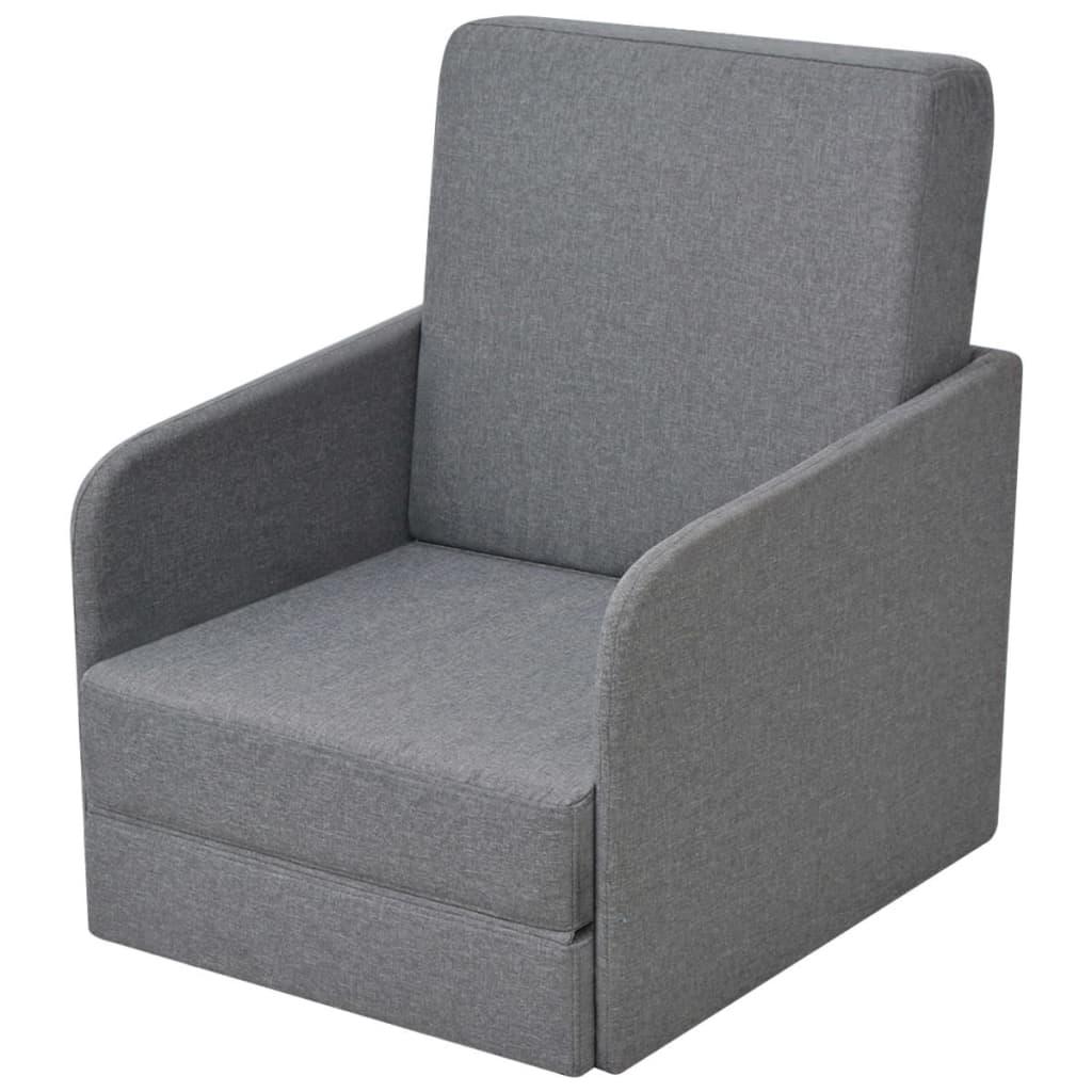 vidaXL Πολυθρόνα-Κρεβάτι Ανοιχτό Γκρι 59,5 x 72 x 72,5 εκ. Υφασμάτινη