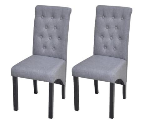 vidaXL Dining Chairs 2 pcs Fabric Upholstery Dark Gray[1/6]