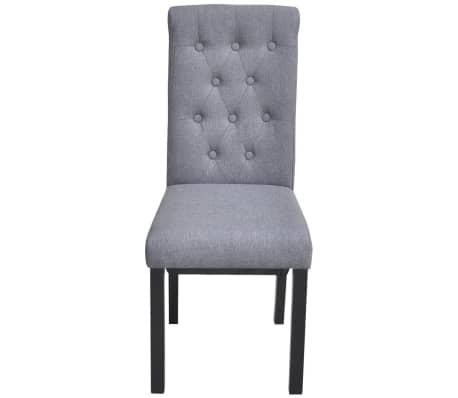 vidaXL Dining Chairs 2 pcs Fabric Upholstery Dark Gray[3/6]