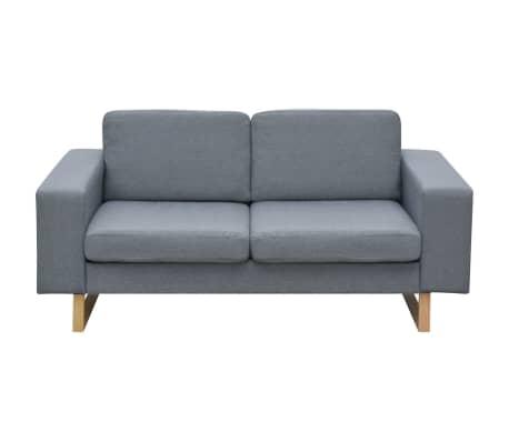 vidaXL 2-Seater Sofa Fabric Light Gray[2/3]
