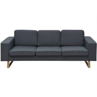 vidaXL 3-Seater Sofa Fabric Dark Gray[2/3]