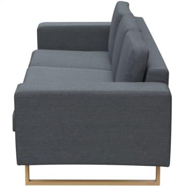 vidaXL 3-Seater Sofa Fabric Dark Gray[3/3]