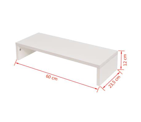 vidaXL Pakyla monitoriui, med. drožlių plokštė, 60x23,5x12 cm, balta[5/5]