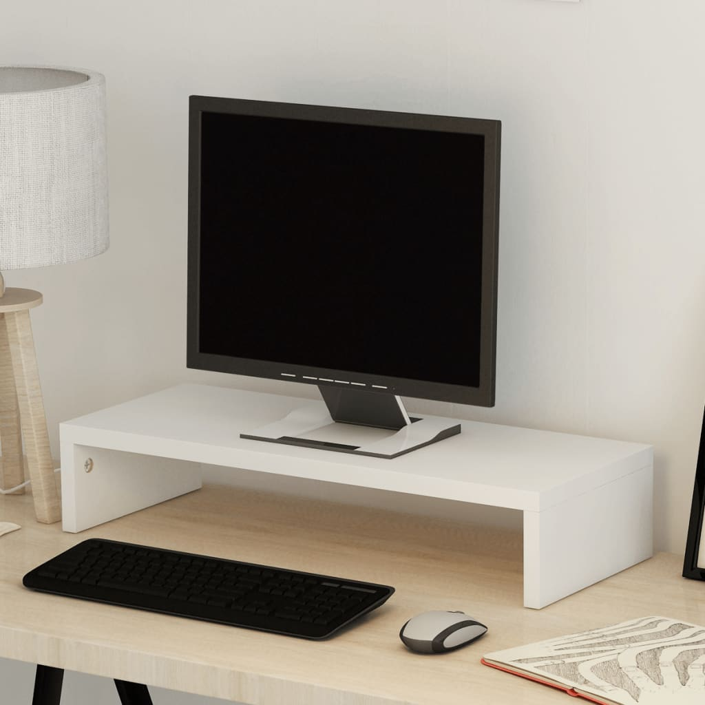 vidaXL TV-/monitorstandaard spaanplaat 60x23,5x12 cm wit