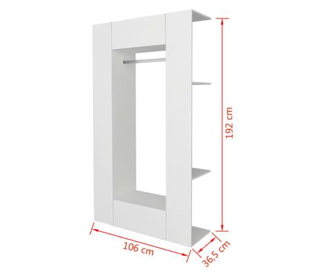 vidaXL Roupeiro em madeira compensada 106x36,5x192 cm branco[9/9]