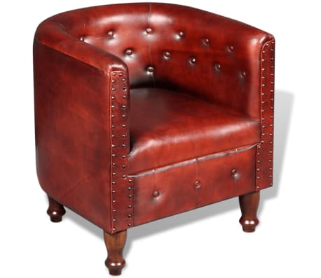 vidaXL Tub Chair Real Leather Brown[1/5]