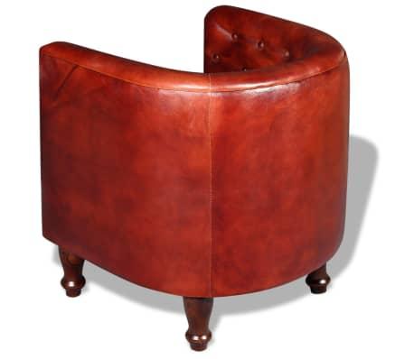 vidaXL Sillón diseño de cubo cuero auténtico marrón[3/5]