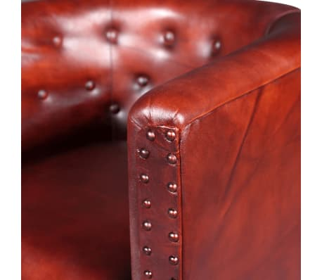 vidaXL Tub Chair Real Leather Brown[4/5]