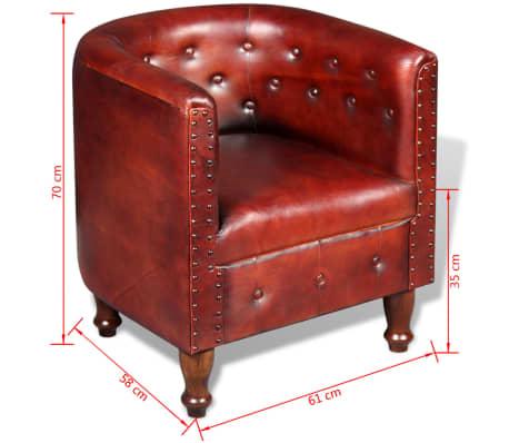 vidaXL Sillón diseño de cubo cuero auténtico marrón[5/5]