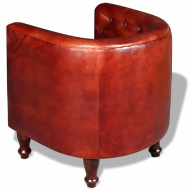 vidaXL Tub Chair Real Leather Brown[3/5]