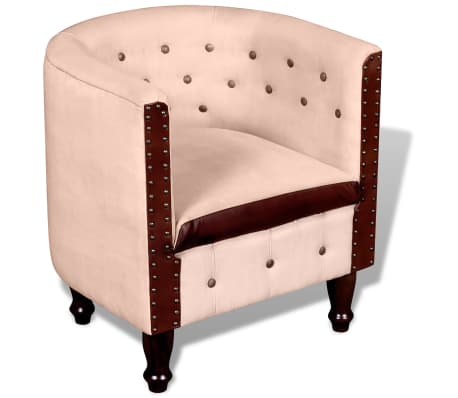 vidaXL Tub Chair Real Leather & Canvas Beige[1/5]