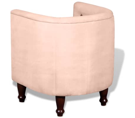 vidaXL Tub Chair Real Leather & Canvas Beige[3/5]