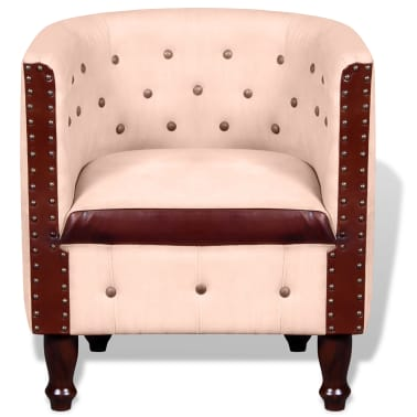 vidaXL Tub Chair Real Leather & Canvas Beige[2/5]