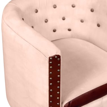 vidaXL Tub Chair Real Leather & Canvas Beige[4/5]