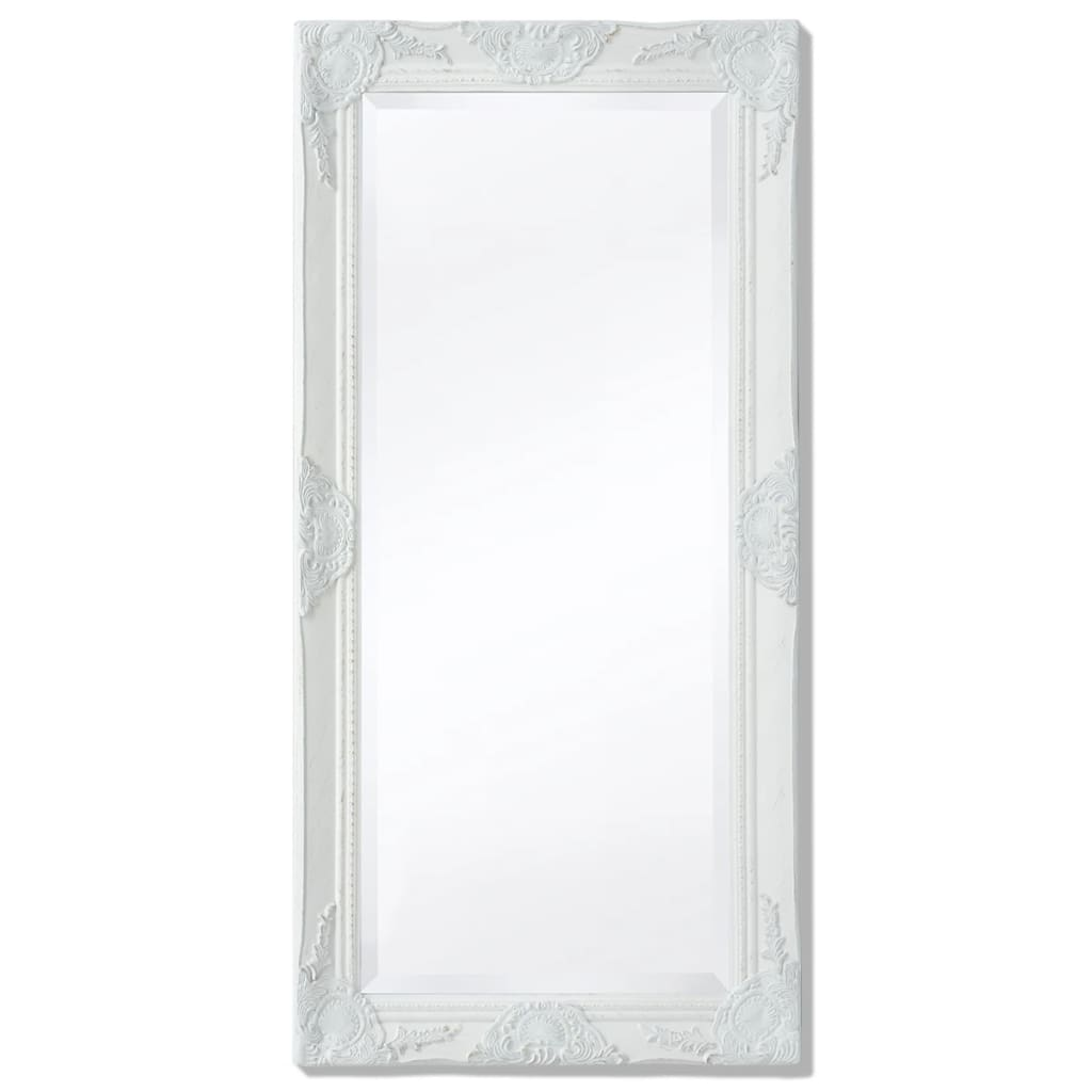 vidaXL Nástěnné zrcadlo barokní styl 100x50 cm bílé