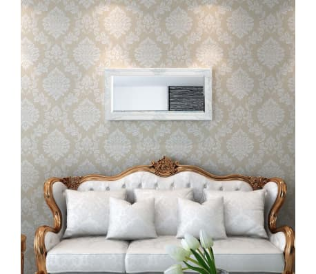 "vidaXL Wall Mirror Baroque Style 39.4""x19.7"" White[2/9]"