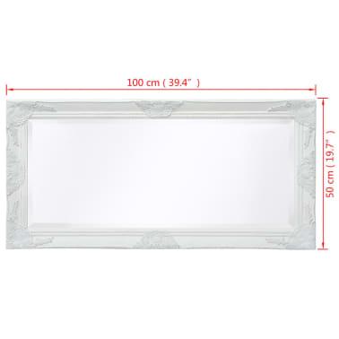 "vidaXL Wall Mirror Baroque Style 39.4""x19.7"" White[9/9]"