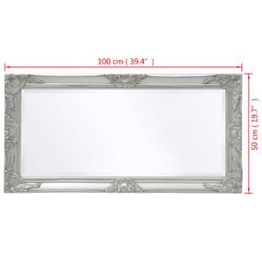 "vidaXL Wall Mirror Baroque Style 39.4""x19.7"" Silver[9/9]"