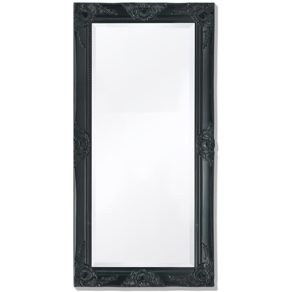 vidaXL Καθρέφτης Επιτοίχιος με Μπαρόκ Στιλ Μαύρος 100 x 50 εκ.