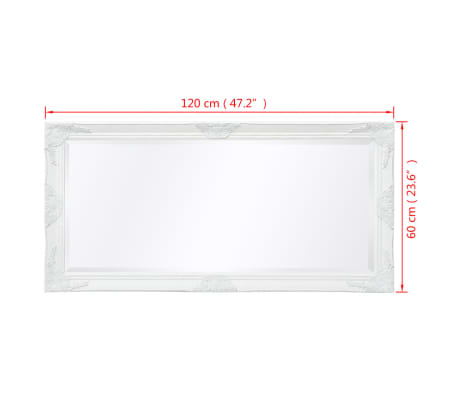 "vidaXL Wall Mirror Baroque Style 47.2""x23.6"" White[9/9]"