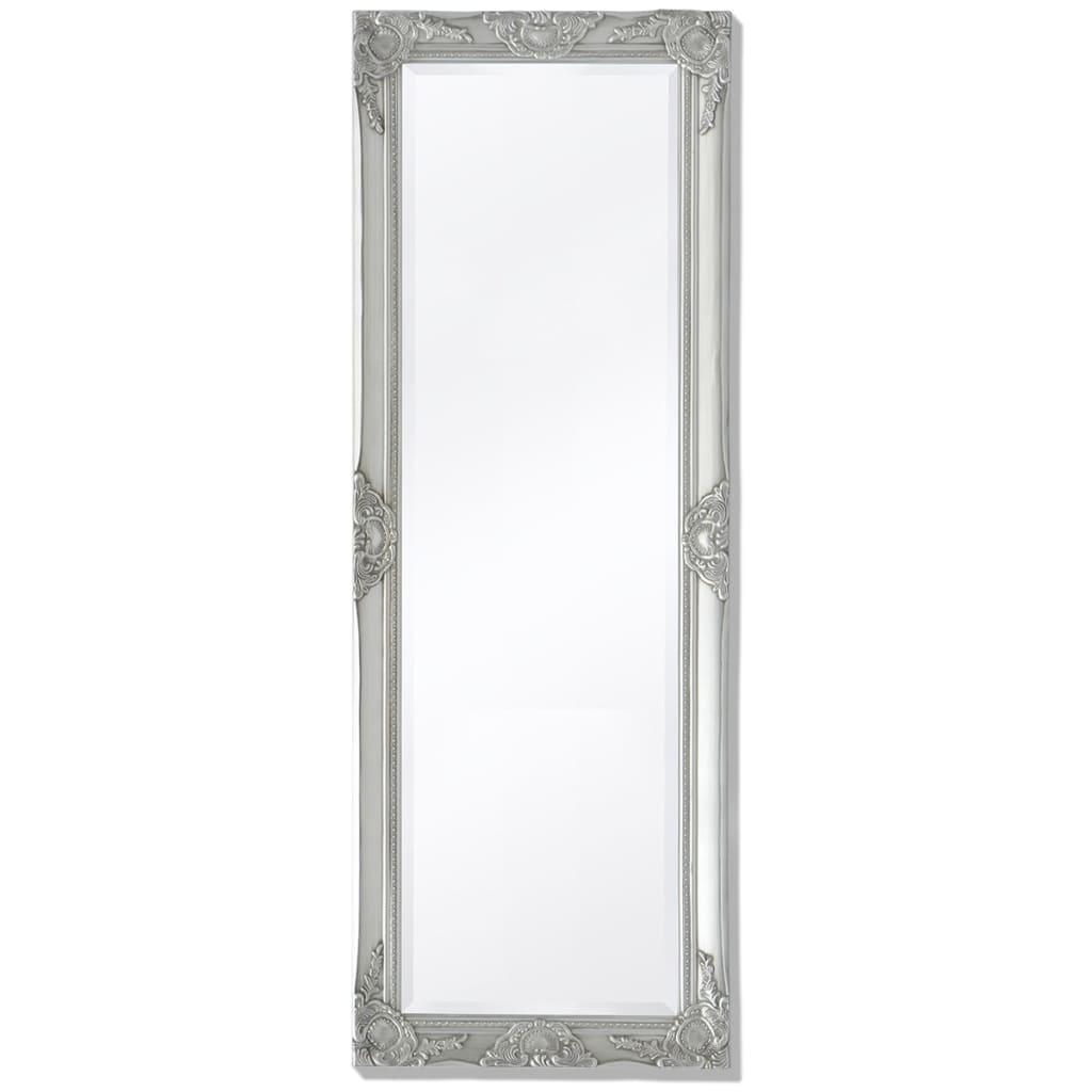 vidaXL Καθρέφτης Επιτοίχιος με Μπαρόκ Στιλ Ασημί 140 x 50 εκ.