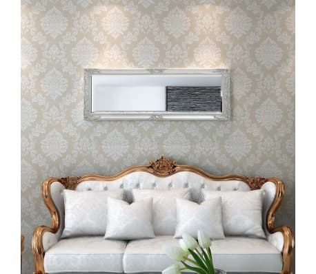 "vidaXL Wall Mirror Baroque Style 55.1""x19.7"" Silver[2/9]"
