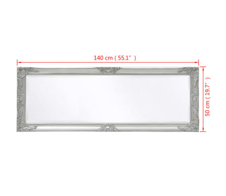 "vidaXL Wall Mirror Baroque Style 55.1""x19.7"" Silver[9/9]"