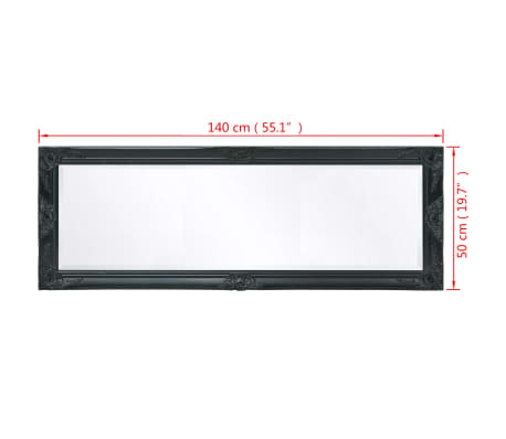 "vidaXL Wall Mirror Baroque Style 55.1""x19.7"" Black[9/9]"
