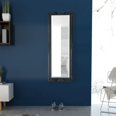 "vidaXL Wall Mirror Baroque Style 55.1""x19.7"" Black[3/9]"