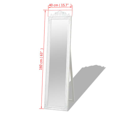 "vidaXL Free-Standing Mirror Baroque Style 63""x15.7"" White[7/7]"