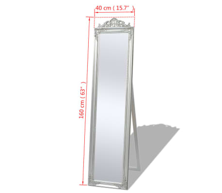"vidaXL Free-Standing Mirror Baroque Style 63""x15.7"" Silver[7/7]"