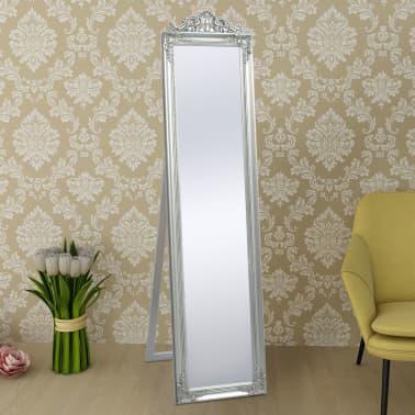 "vidaXL Free-Standing Mirror Baroque Style 63""x15.7"" Silver[6/7]"
