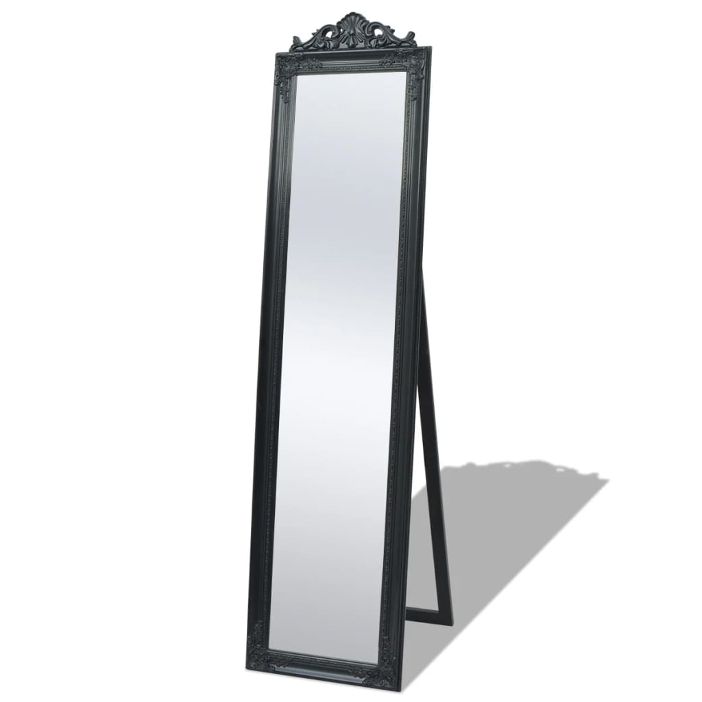 vidaXL Καθρέφτης Επιδαπέδιος με Μπαρόκ Στιλ Μαύρος 160 x 40 εκ.