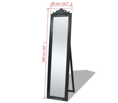 "vidaXL Free-Standing Mirror Baroque Style 63""x15.7"" Black[7/7]"